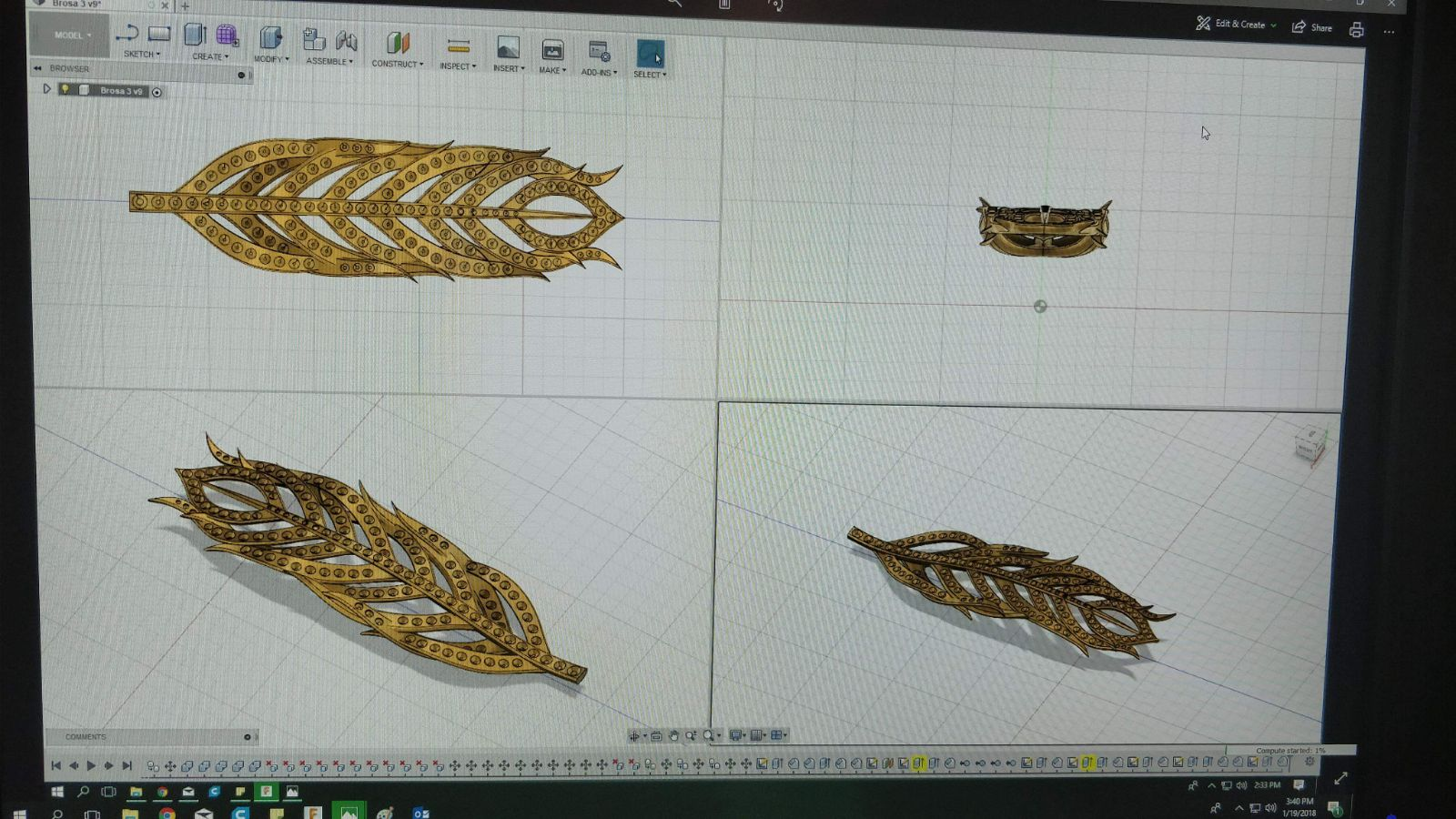 Obiectul 3D aproape de finalul etapei de proiectare