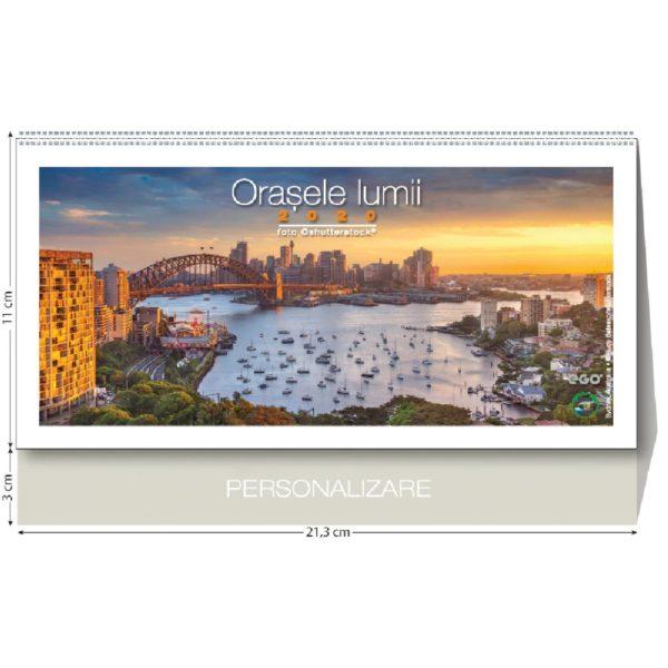 Calendar de birou Orasele Lumii personalizabil folio, timbru sec, print UV sau gravare laser.
