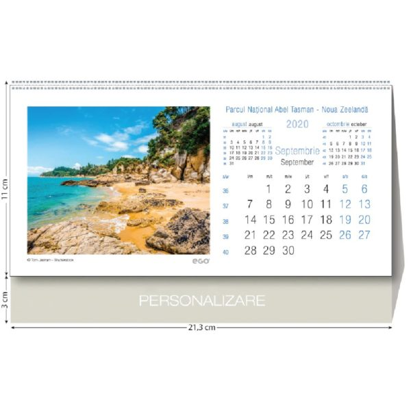 Calendar de birou Parcuri Nationale personalizabil folio, timbru sec, print UV sau gravare laser.