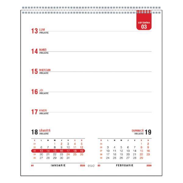 Calendar de birou Prisma personalizabil folio, timbru sec, print UV sau gravare laser.