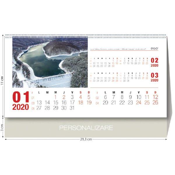 Calendar de birou Romania personalizabil folio, timbru sec, print UV sau gravare laser.