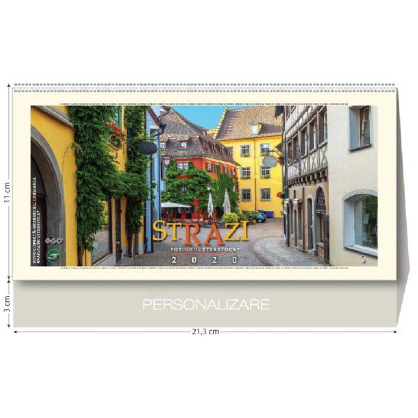 Calendar de birou Strazi personalizabil folio, timbru sec, print UV sau gravare laser.