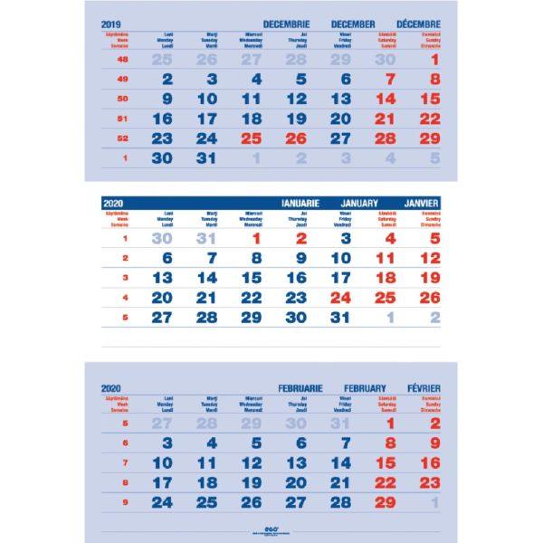 Calendar Triptic Clasic personalizabil folio, timbru sec, print UV sau gravare laser.