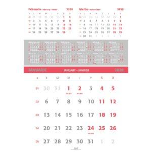 Calendar Triptic Special personalizabil folio, timbru sec, print UV sau gravare laser.