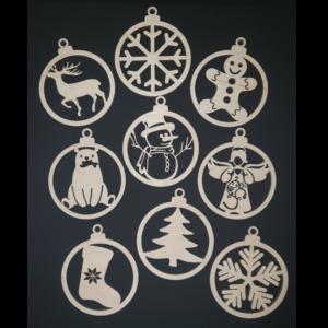 Set 9 decoratiuni de Craciun din lemn